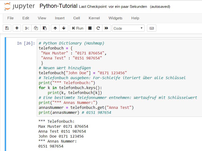 Python-Tutorial mit Jupyter Notebook