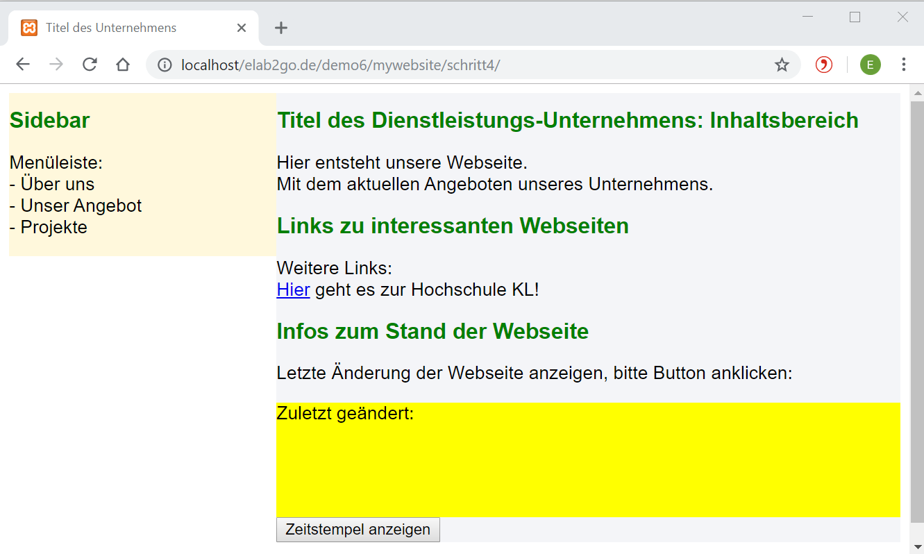 Website in Desktopanzeige